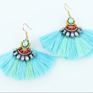 Cotton Fringe Fan Earrings